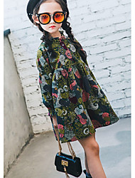 cheap -Girl's Casual/Daily Solid Dress,Cotton Fall Long Sleeves Vintage Army Green
