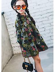 baratos -Menina de Vestido Casual Sólido Outono Algodão Manga Longa Vintage Verde Tropa