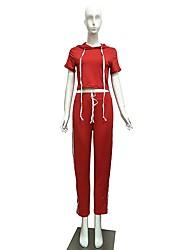 preiswerte -Damen Laufshirt mit Laufhose Langarm Fitness Kleidungs-Sets für Yoga Rennen Polyester Schlank Rot S M L XL