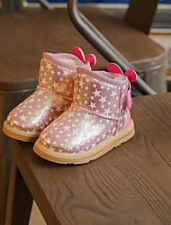 Para Meninas sapatos Courino Inverno Botas de Neve Botas Botas Curtas / Ankle Velcro para Casual Dourado Rosa claro