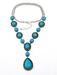 cheap -Women's Drop Shape Vintage Bohemian Statement Necklace Turquoise Turquoise Alloy Statement Necklace Gift Evening Party Costume Jewelry