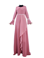 billige -Arabisk kjole Abaya Kvindelig Festival / Højtider Halloween Kostumer Lyserød Sort Lilla Grøn Farveblok