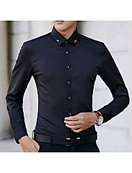 cheap -Men's Business Slim Shirt - Solid Colored Classic Collar