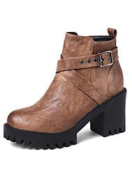 baratos -Mulheres Sapatos Courino Inverno Outono Botas da Moda Curta/Ankle Botas Salto Robusto Ponta Redonda Botas Curtas / Ankle Presilha para
