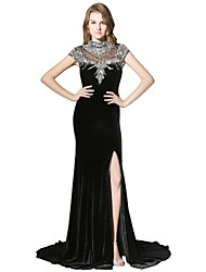 cheap -Mermaid / Trumpet High Neck Court Train Velvet Prom Formal Evening Dress with Beading Sequins by Sarahbridal
