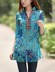 cheap -Women's Holiday Casual/Daily Vintage Street chic Blouse,Floral Stand ½ Length Sleeve Polyester