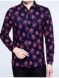Masculino Camisa Social Diário Vintage Primavera Outono,Floral Poliéster Colarinho de Camisa Manga Comprida Média