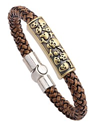 cheap -Men's Leather Bracelet - Fashion Rock Circle Brown Bracelet For Going out