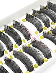 cheap -10 Eyelashes lash Full Strip Lashes Eyelash Thick Natural Handmade Fiber Black Band 0.10mm