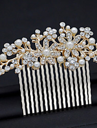 cheap -Women's Hair Comb,Simple Floral Style Imitation Pearl All Seasons Gold