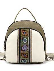 cheap -Women's Bags Canvas Polyester Backpack Embroidery Zipper for Casual All Seasons Beige Army Green