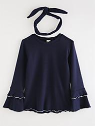 preiswerte -Mädchen T-Shirt Solide Baumwolle Herbst Zeichentrick Marineblau Grau