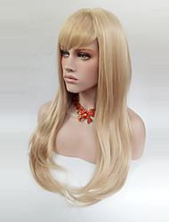 abordables -Perruque Synthétique Droit Avec Frange Blond Femme Sans bonnet Perruque Naturelle Long Cheveux Synthétiques