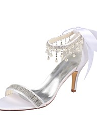 Women's Shoes Stretch Satin Summer Basic Pump Wedding Shoes Stiletto Heel Open Toe Crystal Pearl for Party & Evening Dress White