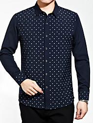 Masculino Camisa Social Casual Moda de Rua Todas as Estações,Poá Poliéster Colarinho de Camisa Manga Comprida Opaca