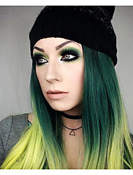 cheap -Synthetic Lace Front Wig Straight Green Women's Lace Front Natural Wigs Long Synthetic Hair