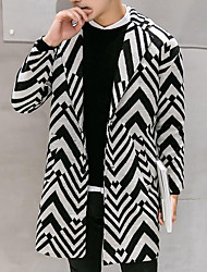 cheap -Men's Going out Casual/Daily Street chic Winter Fall Coat,Striped Peter Pan Collar Long Sleeve Long Polyester Pleated
