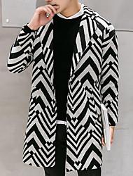 cheap -Men's Street chic Long Coat-Striped,Pleated