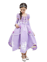 cheap -Princess Sofia Dress Children's Halloween Birthday Festival / Holiday Halloween Costumes Light Purple Color Block Ball Gown Slip Cartoon