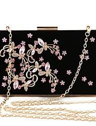 Недорогие -Жен. Мешки Бархат Вечерняя сумочка Кристаллы Черный / Розовый