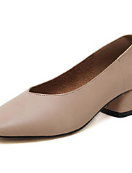Feminino Sapatos Pele Nobuck Primavera Outono Conforto Saltos Salto de bloco para Casual Preto Rosa claro