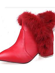 Недорогие -Жен. Обувь Нубук Зима Осень Удобная обувь Оригинальная обувь Ботильоны Ботинки На толстом каблуке Заостренный носок Ботинки Пух Пряжки для