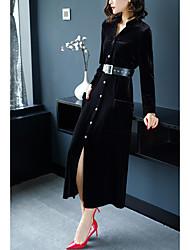 cheap -Women's Going out Street chic A Line Sheath Dress,Solid Shirt Collar Maxi Long Sleeve Polyester Winter Fall High Waist Micro-elastic