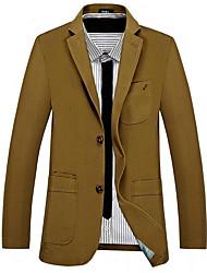 メンズ お出かけ カジュアル/普段着 冬 秋 ジャケット,ストリートファッション ピーターパンカラー ソリッド レギュラー ポリエステル 長袖