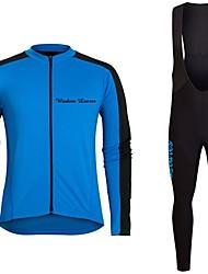 cheap -Cycling Jersey with Bib Tights Unisex Long Sleeves Bike Jersey Clothing Suits Bike Wear Fast Dry Geometric Cycling / Bike Blue Dark Blue