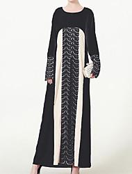 baratos -Mulheres Feriado Vintage Algodão Bainha Vestido Estampa Colorida Longo / Outono / Inverno
