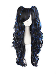 cheap -Women Synthetic Wig Long Wavy Black/Blue With Ponytail Lolita Wig Costume Wig