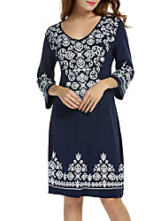 cheap -Women's Casual/Daily Boho A Line Dress,Floral V Neck Above Knee Half Sleeve Spandex Japanese Cotton Spring Summer Medium Waist Stretchy