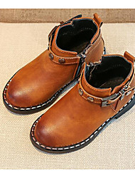 cheap -Boys' Shoes Leatherette Fall / Winter Comfort / Combat Boots Boots Walking Shoes Buckle for Black / Light Brown / Burgundy