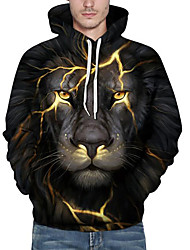 cheap -Men's Plus Size Active Long Sleeve Loose Hoodie & Sweatshirt Print Hooded