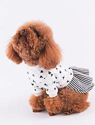 baratos -Cachorro Vestidos Roupas para Cães Estampado Vermelho Azul Algodão Ocasiões Especiais Para animais de estimação Homens Mulheres Casual