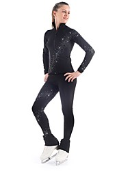 cheap -Figure Skating Jacket with Pants Women's Girls' Ice Skating Pants / Trousers Tracksuit Top Black Spandex Inelastic Performance Practise
