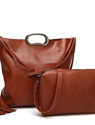 economico -Donna Sacchetti PU (Poliuretano) sacchetto regola Set di borsa da 2 pezzi Cerniera per Casual Tutte le stagioni Nero Grigio Caffè Marrone