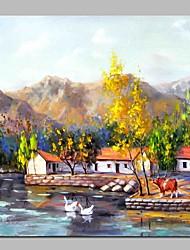 economico -Dipinta a mano Paesaggi Quadrato, Rustico Tela Hang-Dipinto ad olio Decorazioni per la casa Un Pannello