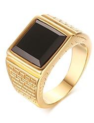 preiswerte -Herrn Bandring Onyx Gold Edelstahl Geometrische Form Freizeit Modisch Europäisch Strasse Verabredung Modeschmuck