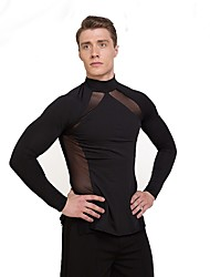 cheap -Latin Dance Tops Men's Performance Tulle Netting Pleated Long Sleeve Natural Tops