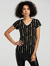 abordables -Mujer Algodón Camiseta, Escote en Pico A Rayas