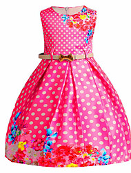 cheap -Girl's Casual/Daily Going out Solid Floral Round Dots Dress, Cotton Polyester Spring Summer Sleeveless Cute Active Princess Blue Fuchsia