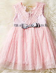 Baby Girl's Daily Holiday Solid Floral Dress,Cotton Polyester Simple Cute Active Sleeveless Blushing Pink White
