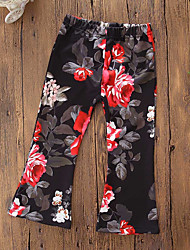 cheap -Girls' Floral Classic Pants, Cotton Polyester Fall Spring, Fall, Winter, Summer Cute Active Black Red
