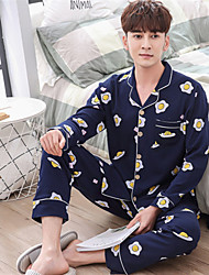 cheap -Men's Suits Pajamas,Print Print Cotton Blue