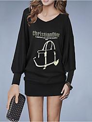 Dámské Vintage Dovolená Pouzdro Šaty Jednobarevné,Dlouhé rukávy Do V Nad kolena Bavlna Zima Podzim Mid Rise Lehce elastické Neprůhledné