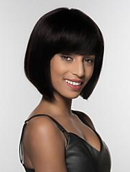 Недорогие -Человеческие волосы без парики Натуральные волосы Естественные прямые Боковая часть Средние Машинное плетение Парик Жен.