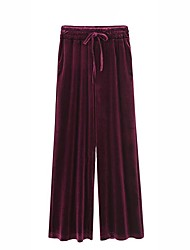 cheap -Women's Sophisticated Plus Size Wide Leg Pants - Solid High Rise