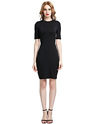 cheap -Women's Party Club Vintage Casual Sexy Bodycon Sheath Dress,Solid Stand Above Knee Short Sleeve Rayon Polyester Spandex All Season Spring