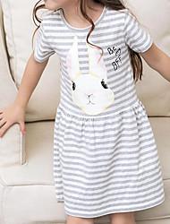 abordables -Robe Fille de Décontracté / Quotidien Sortie Rayé Motif Animal Coton Eté Manches Courtes Chic de Rue Gris